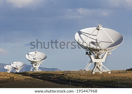 Very Large Array Satellite Dishes in New Mexico, USA - stock photo