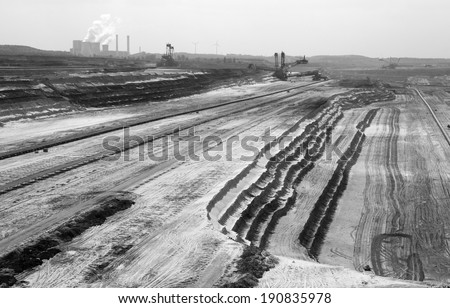 Very Large excavators at work in one of the world's largest lignite (brown coal) mines  - stock photo