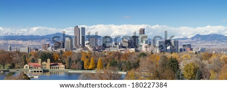 Very large panorama of Denver, Colorado skyline, with Rocky Mountains in the background. - stock photo