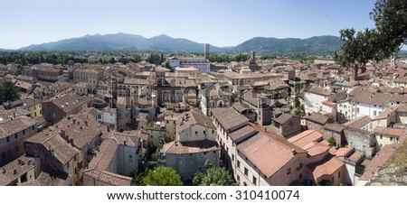 Very large panorama of Lucca, Italy - stock photo