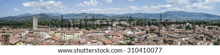 Very large panorama of Lucca, Italy