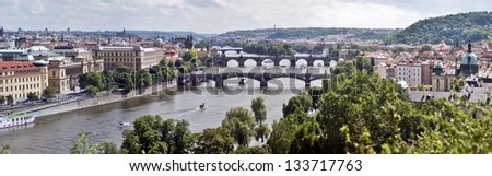 Very large panoramic view of the city of Prague, Czech Republic