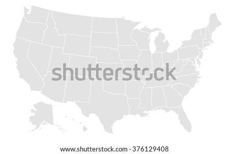 very light grey map of the united states of america with no outline on white background with white internal borders - stock photo