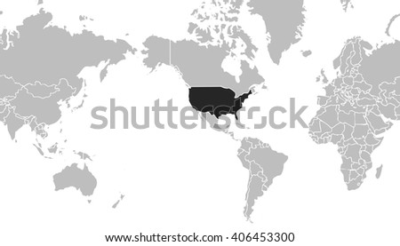 very light grey world map centered on united states of america with grey outline on black background with white internal borders - planet geografic map - global earth cartografic picture in wide view - stock photo