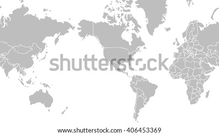 Very light grey world map centered stock illustration 406453369 very light grey world map centered on united states of america with outlines on white background gumiabroncs Images