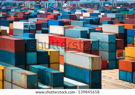 very many containers in shanghai sea port - stock photo