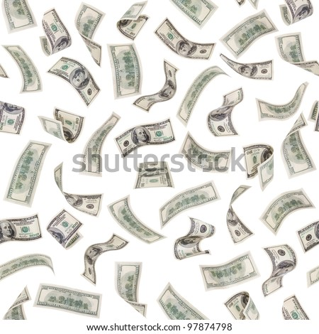 very many  mass currency note of dollars, boundless square background, isolated - stock photo