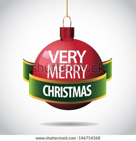 Very merry Christmas ornament greeting card design. jpg - stock photo