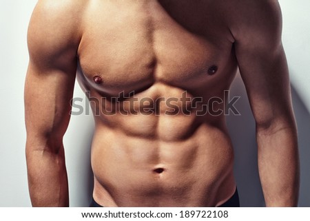 Very muscular and sexy torso of young man