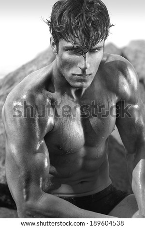 Very muscular handsome sexy guy  - stock photo