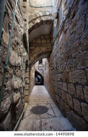 Very narrow street in the Arab block. Old city. Jerusalem. - stock photo