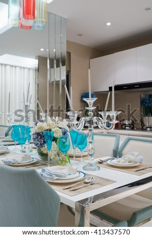 very nice dining room with tableware
