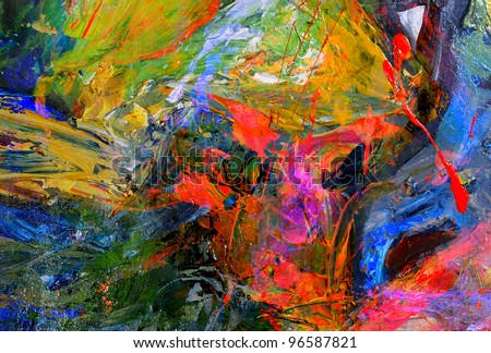 Very nice Image of a large scale Abstract Oil Painting - stock photo