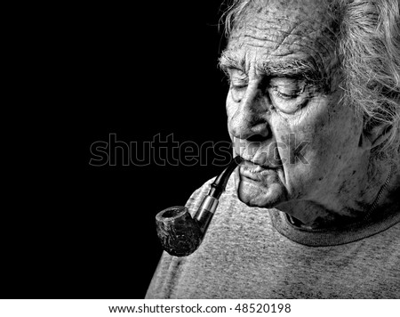 Very Nice Image of an Old man and His Pipe