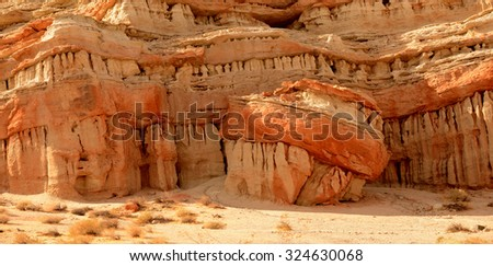 Very Nice image of Red Rock Canyon where the Sierra nevada Range ends in California - stock photo