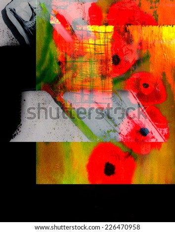 very Nice large scale Abstract painting On Canvas - stock photo