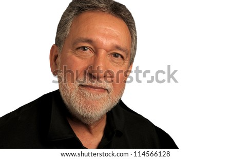 Very Nice Portrait of a Latino Man on White - stock photo