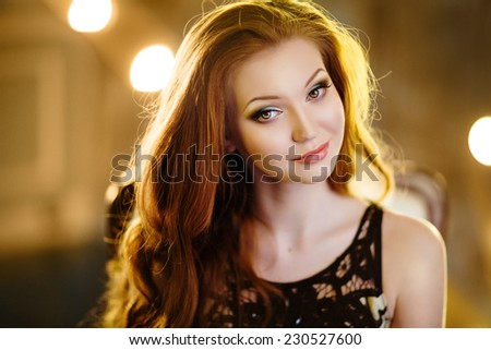 very nice sensual girl with red hair - stock photo