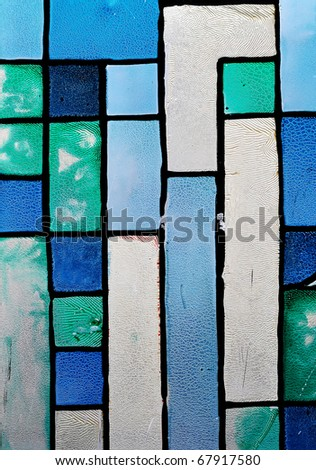 Very old abstract stained glass print texture. Old stained glass window. - stock photo