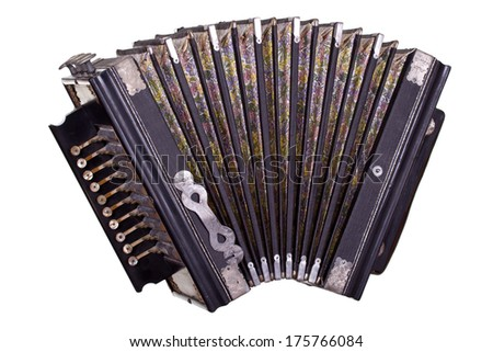very old accordion - stock photo