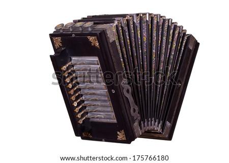 very old accordion - stock photo