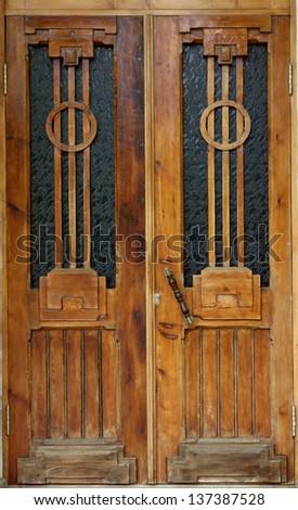 Very old antique doors texture - stock photo