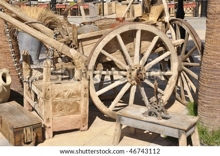 Very old arabian horse wagon and another items - stock photo