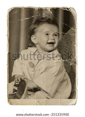 Very old authentic picture cute little girl on a white background - stock photo