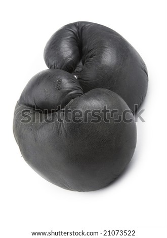 Very old  black boxing-glove