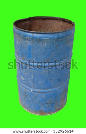 Very old blue steel trash - stock photo