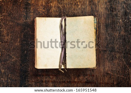 very old book with two empty pages ready to be filled with some text - stock photo