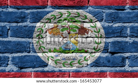 Very old brick wall texture, flag of Belize