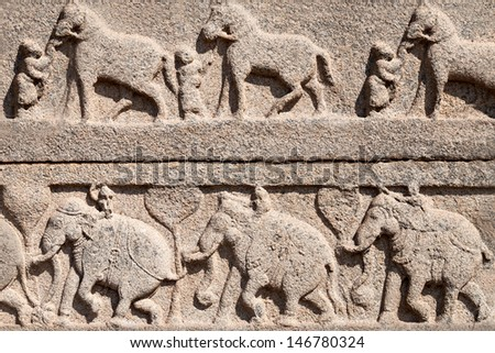 Very old carving on the temple, India - stock photo