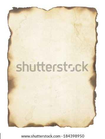 Very old, creased paper with fire damaged and burned edges. Blank with room for text or images. Isolated on white. - stock photo