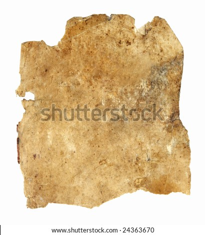 very old dirty and ragged paper isolated on white background with clipping path