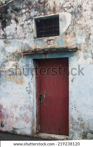Very old door in a Typical Mexican village - stock photo