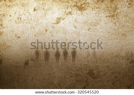 Very old grunge paper background with zombies or ghosts. Good for halloween. - stock photo