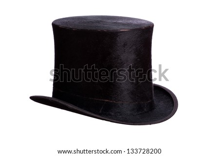 very old hat on white - stock photo