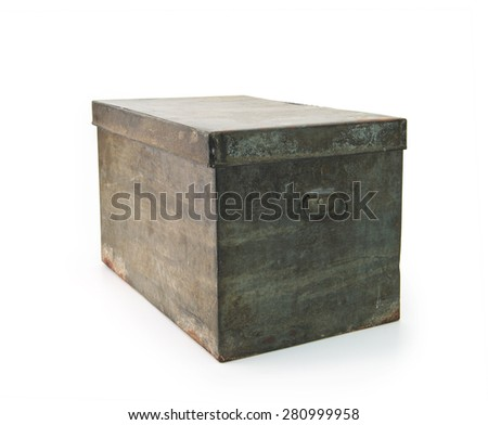 Very old iron or tin metal storage trunk with handle, isolated on white. - stock photo