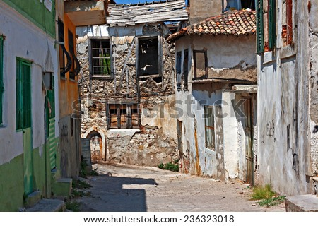 Very old rundown houses in Turkish village - stock photo