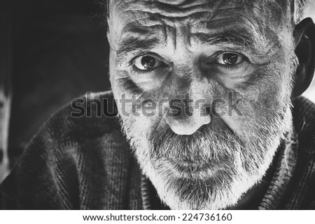 Very old senior man black and white portrait - stock photo