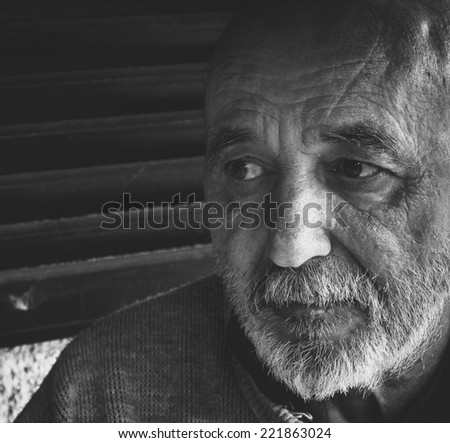 Very old senior man portrait - stock photo