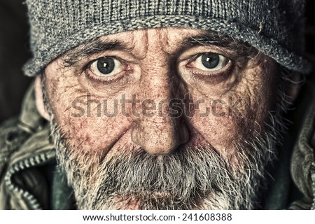 Very old senior man portrait - stock photo