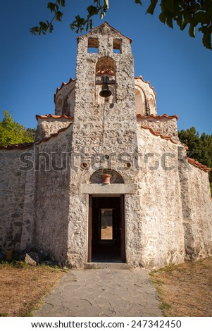 Very Old Small Orthodox Christian Church at Rhodes Island, Greece - stock photo