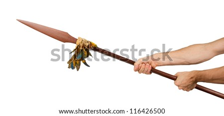 Very old spear (weapon) from Surinam, South America, Isolated - stock photo