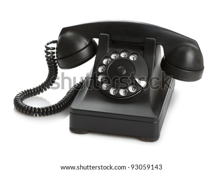 Very old telephone (1937) on white background