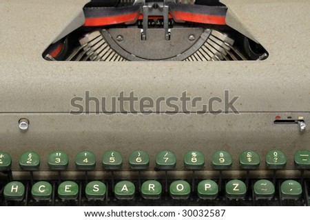 Very old typewriter detail - stock photo