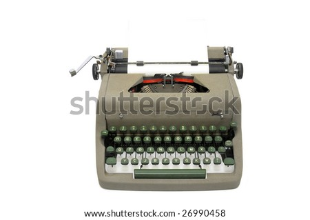 Very old typewriter isolated in white