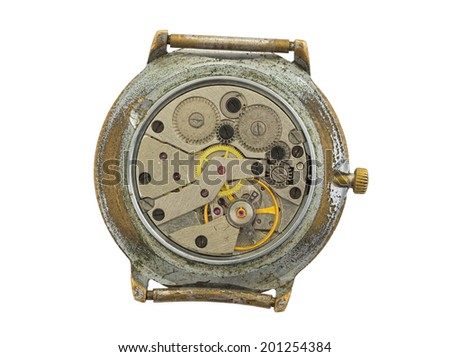 Very old watch isolated on a white background - stock photo