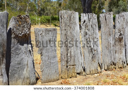 Very old weathered wooden fence made from Australian eucalypt gum tree stumps. - stock photo